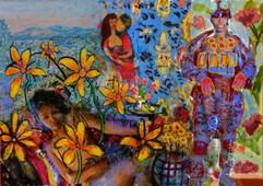 Chagall, Bonnard, a naked lady, flowers