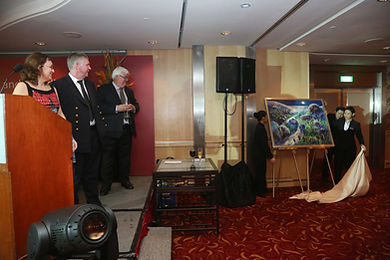 The unveiling of one of Jeremy's painting commissioned for the naming ceremony of a ship