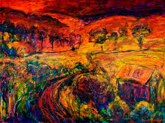 Sunset of fire oil painting