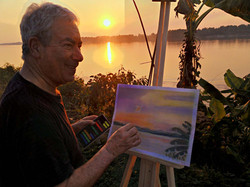 Artist Lawrence enjoying a painting holiday in Thailand  000