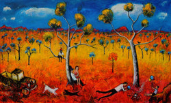 The Australian Outback with figures.