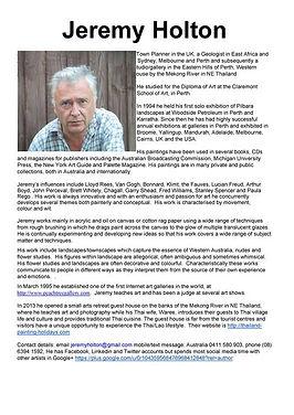 Jeremy Holton Perth artist CV