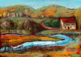 Blue river, landscape