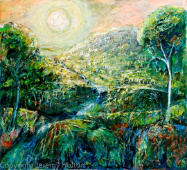 Land of dreams green landscape painting.