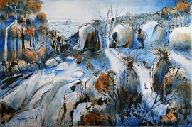 Cool blues Australian landscape painting