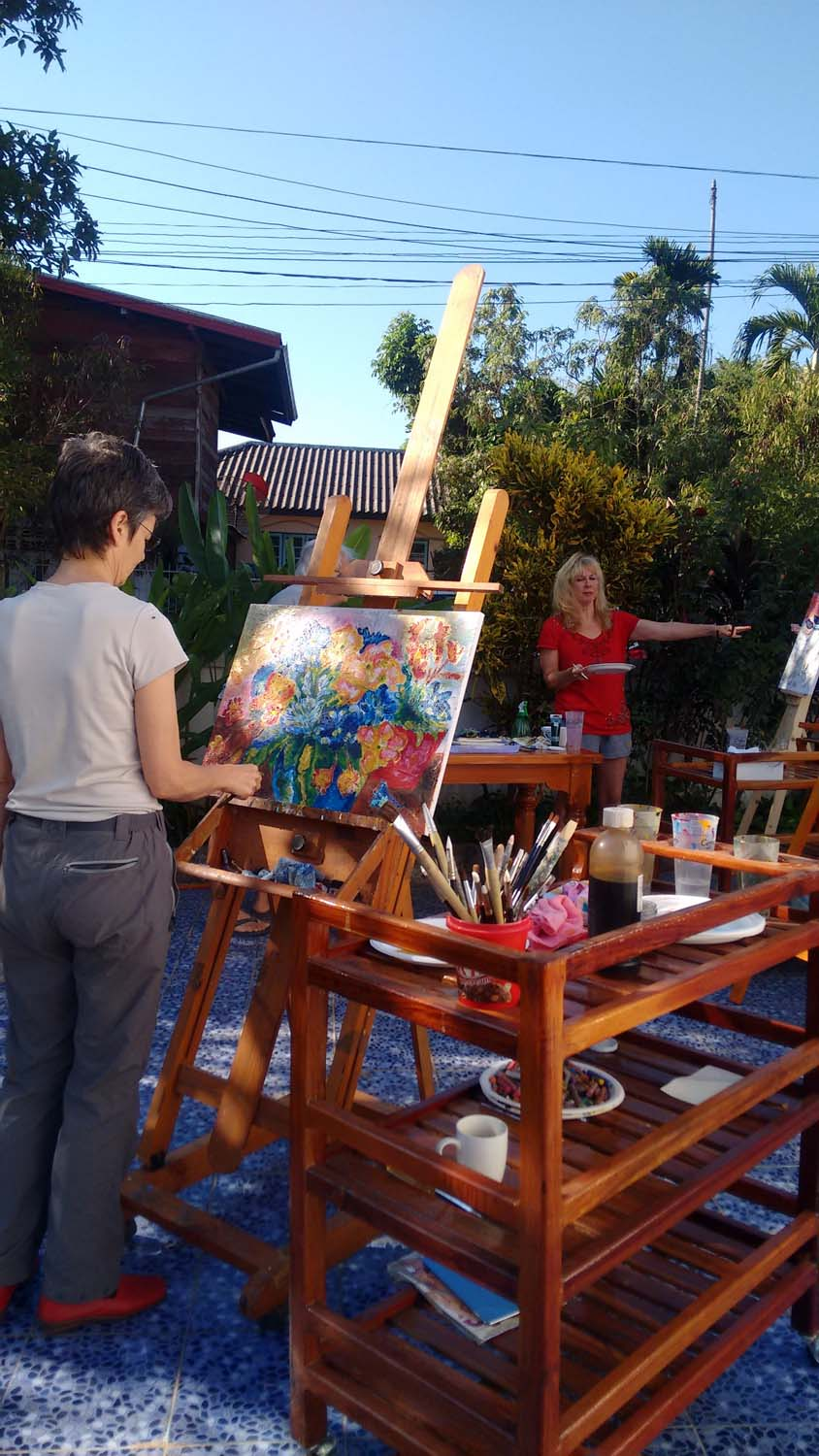 Artist Frances enjoying a painting holiday in Thailand  019