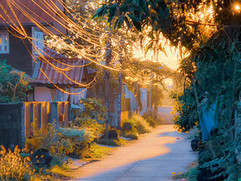 Dawn in a Thailand Street with the golde