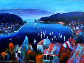 Deep Blue Day painting of Swan River Per
