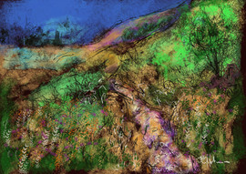 Tanglemere abstract scratchy landscape with distant church by Jeremy Holton