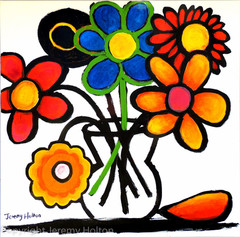 Fantastic colour naïve flower painting