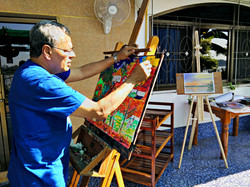 Rohan painting on the Terrace