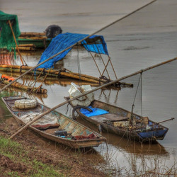 Fishing boats on the Mekong River