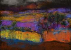 Dark trees and colour landscape