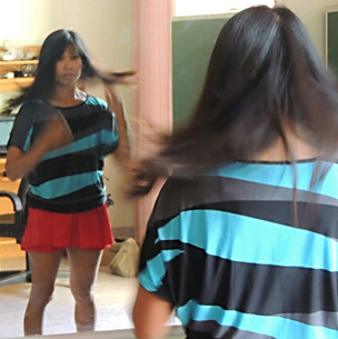 A pretty girl in a mirror