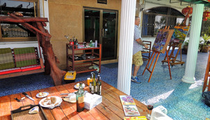 Artists painting on the terrace at Thailand Painting Holidays