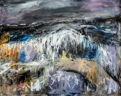 Abstract painting of waves in a storm
