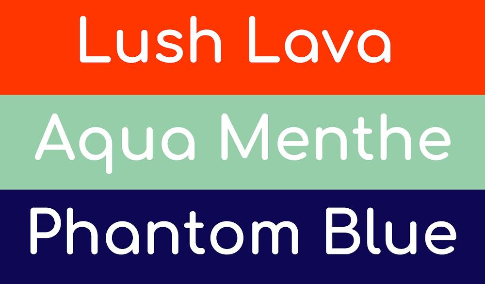 שמות הצבעים הנבחרים לעיצוב 2020