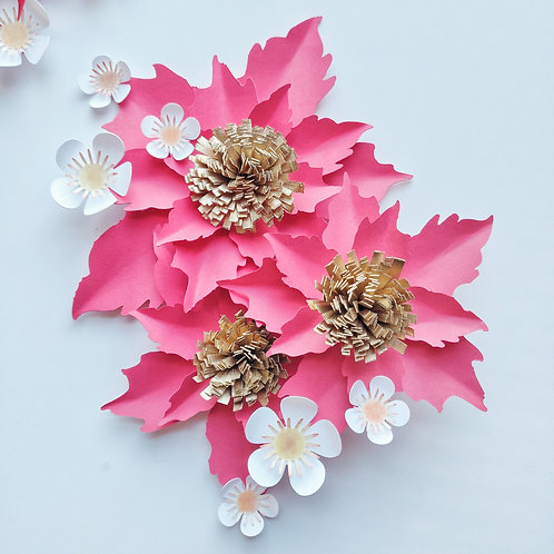 Holiday Gift Topper - Poinsettia (Red & Gold)