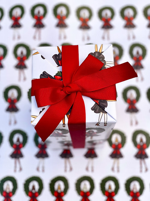 Christmas Wreaths Gift Wrap -  SamiaLynn X Howard & Bow