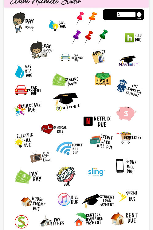 Digital Budget Sticker Sheet