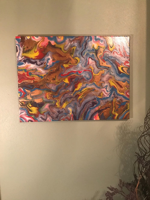 """Psychedelic Glow 16x20"""" iridescent and glow in the dark acrylics"""