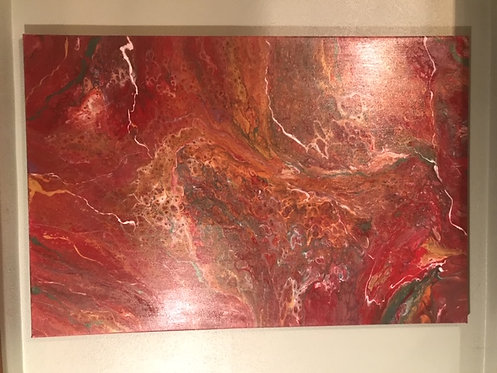 """Red Waves"" 24 x 36 Custom Acrylic Artwork"