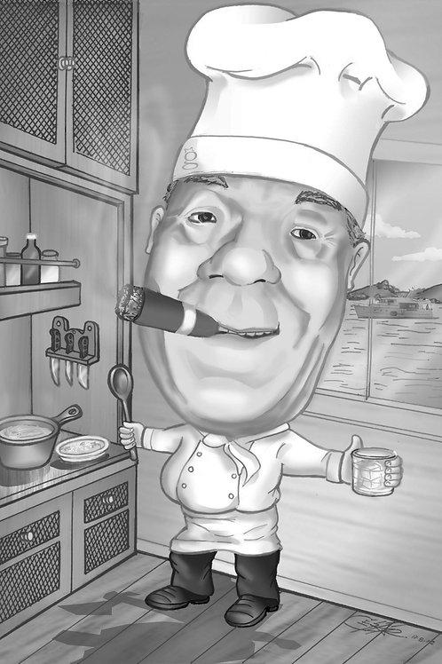 Caricatura personalizada - Tons de Cinza