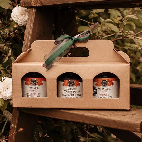selection  of 3 honey jams