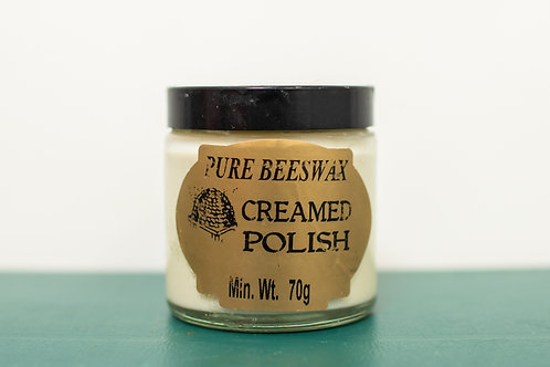 Cream Beeswax Polish, Containing beeswax, turps, soapflakes and water - 70g
