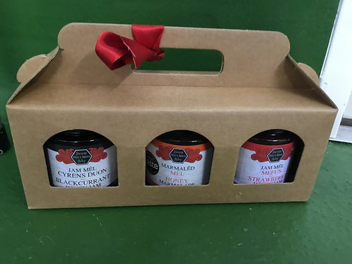 selection  of 3 honey jams