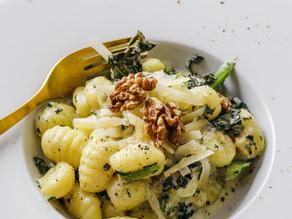 Pumpkin gnocchi with spinach and mushrooms - Gluten free