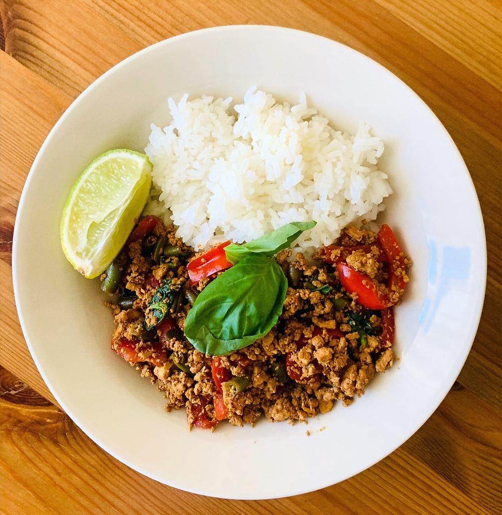 Pure diet | vegan recipe | How to cook the vegan Thai Kra Pao Tofu Rice
