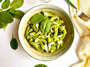 Vegan Fusilli with avocado basil and baby spinach cream