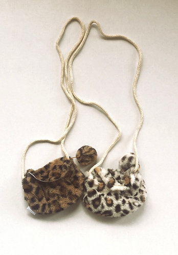 Fur leopard purse