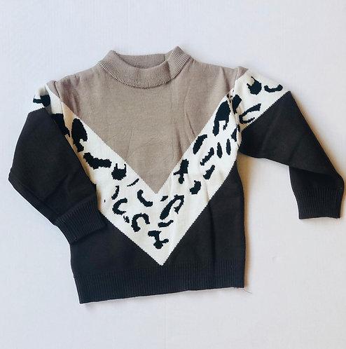 V Print Leopard Sweater