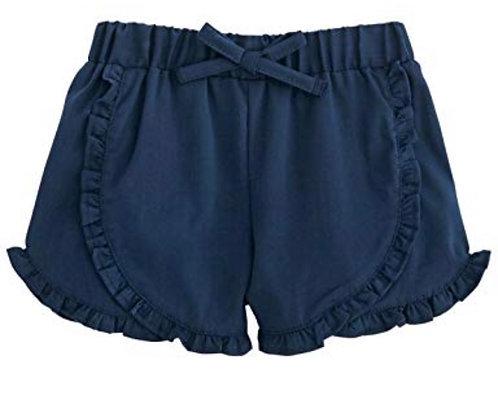 Navy Ruffle Shorts