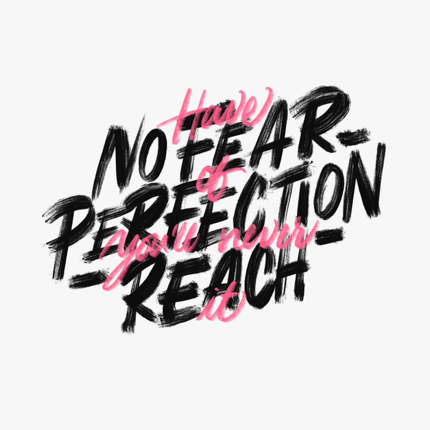 HAVE NO FEAR OF PERFECTION, YOU'LL NEVER REACH IT