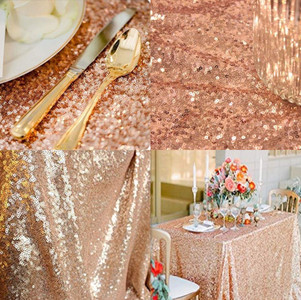 Rose Gold Sequin Fabric Table Linen