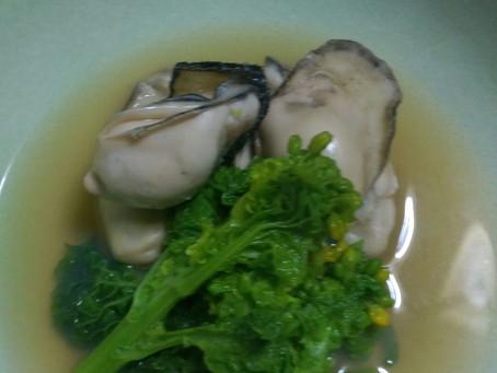 牡蠣と菜の花の酒蒸し