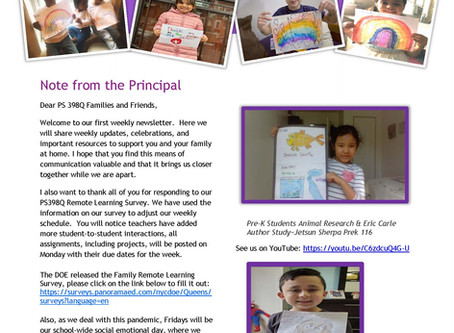 Our School Newsletter for April 20th
