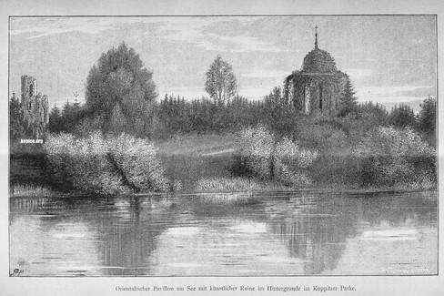 Pałacowy park w roku 1875