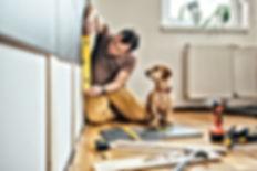 Man doing renovation work at home togeth