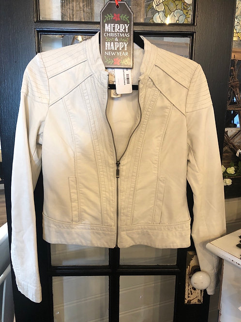 White leather bomber