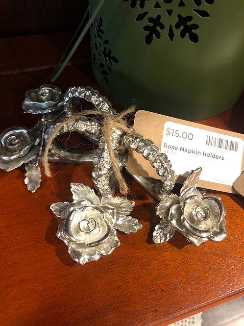 Silver rose napkin holders