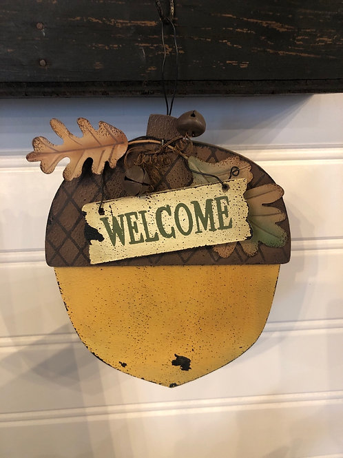 Welcome acorn sign