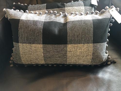 Black/grey check pillow
