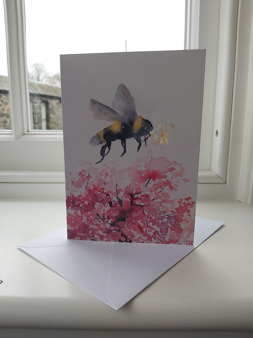 Blank greeting card, bee, blossom and glory