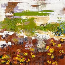 Meadow, mixed media encaustic on wood