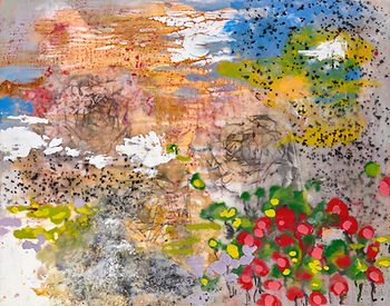 mixed media encaustic, collage on wood