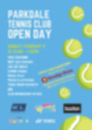 Parkdale Tennis Club's Open Day 2020 Flyer